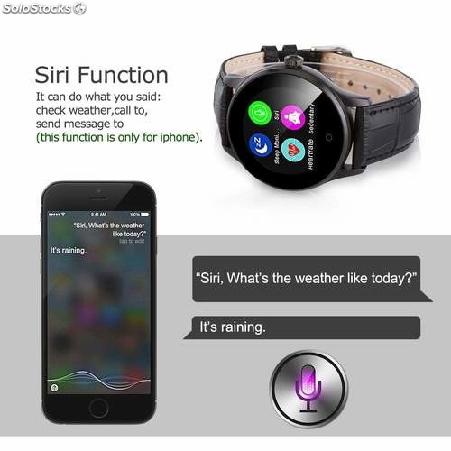 Smart Watch Pedometer Heart Rate Monitor Call/SMS K88H - Black Leather