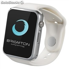 "Smartwatch brigmton bwatch-BT4B 1.54"" 128MB 0.3Mpx bluetooth blanco"