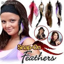 Snap On Feather Extensiones Para Pelo con Plumas