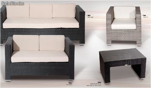 Sof 2 plazas exterior aluminio y medula sint tica for Muebles chill out baratos