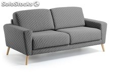 Sofa 3 plazas moncel gris pies haya