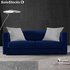 Sofá 3 plazas SAK 180 - Color - Azul-blanco