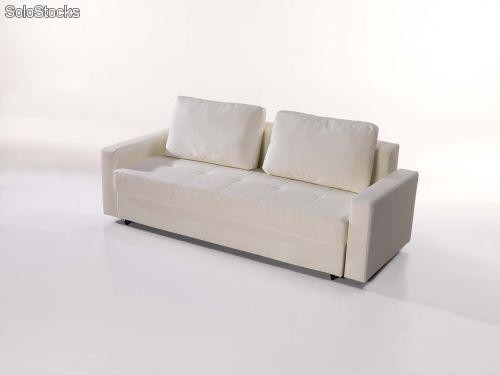 Sofa cama abatible polipiel con cajones barata for Sofa cama polipiel