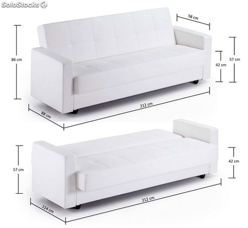 Sofa cama arcon blanco rio for Sofa cama con arcon