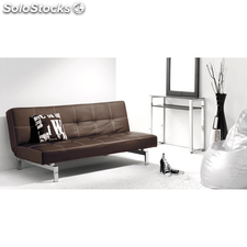 Sofá cama Chic extensible tapizado polipiel marron chocolate de salon comedor