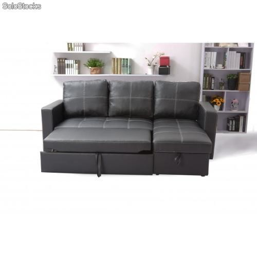 Sof cama con chaise longue y arc n derecha tapizado en for Sofa cama con arcon