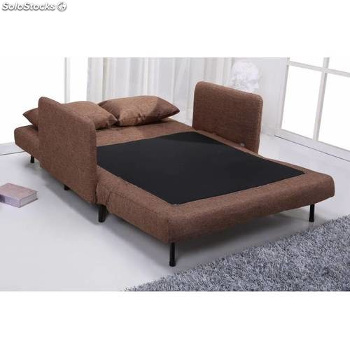Sof cama dos plazas marr n for Sofa cama plegable 2 plazas