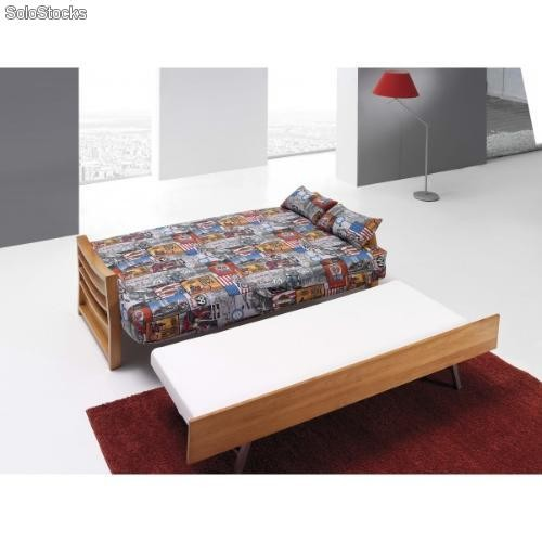 Sof cama libro de tres plazas con cama nido base de for Sofa cama de pared