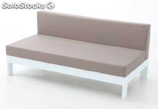 Sofa central dos plazas aluminio blanco Laos