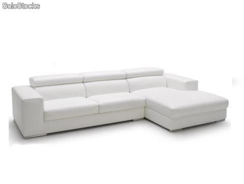 Sof chaise longue asientos deslizantes y respaldos for Sofa piel chaise longue