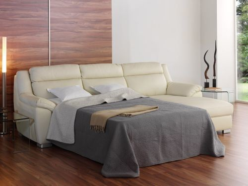 Sofa chaise longue cama en piel italiana color crema mod for Sofa cama chaise longue