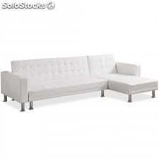 Sofa Chaise longue cama Vogue EL, pu blanco
