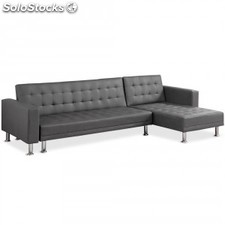 Sofa Chaise longue cama Vogue EL pu, gris