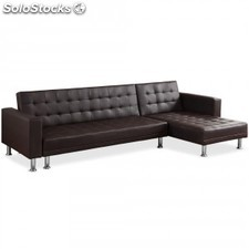 Sofa Chaise longue cama Vogue EL pu, marrón