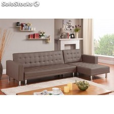 Sofa Chaise longue cama Vogue, taupe PU