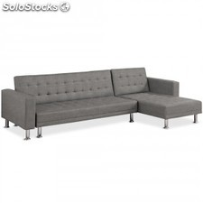 Sofa Chaise longue cama Vogue tela, gris oscuro
