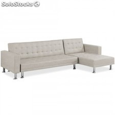 Sofa Chaise longue cama Vogue tela, taupe