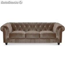 Sof chester 3 plazas terciopelo taupe for Sofa abel 3 cuerpos tela taupe