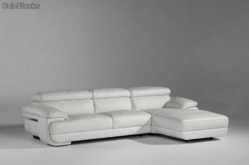 Sof con chaise longue tapizado en piel color blanco for Sofas de piel con chaise longue