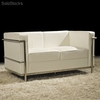 Sofa Corbusier 2 plaza piel blanco