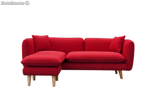Sofa nordico cheslong helsinki rojo for Sofa cheslong