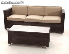 Sofa rattan chocolate 3 plazas Garbi