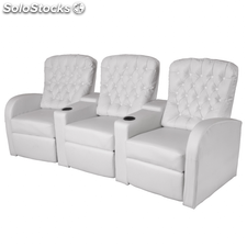Sofá reclinable 3 plazas de cuero artificial blanco