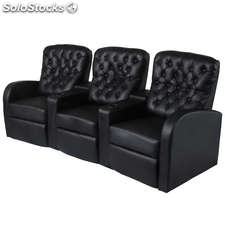 Sofá reclinable 3 plazas de cuero artificial negro