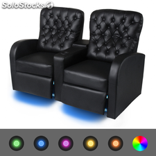 Sofá reclinable LED 2 plazas de cuero artificial negro