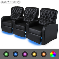 Sofá reclinable LED 3 plazas de cuero artificial negro