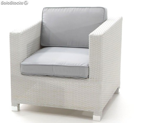 Sofa una plaza rattan blanco artic for Sofas una plaza baratos