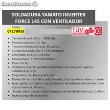 Soldadura Inverter Force 145 125 A.