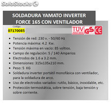 Soldadura Inverter Force 165 140 A.