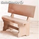 Solid tulipier-bench mod. 035p12-wooden frame-wood finishes in aniline leather