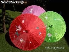 Sombrilla china de tela en colores .Parasoles para boda