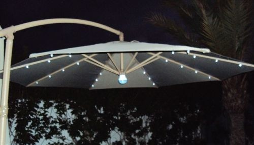 sombrilla solar con luz led