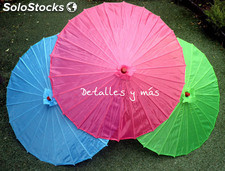 Sombrillas chinas sin decorar 10 colores .Parasol para bodas de tela