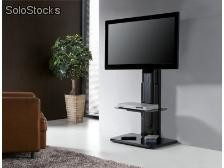 Soporte De Pared Para Tv Cinetique 1 Repisa Mdf Y Acero Negro