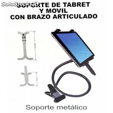 Soporte para movil o tablet flexible de metal con pinza