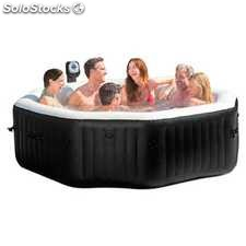 Spa octogonal Bubbles + Jets + 2 Almohadas color negro de Intex - Cod. 28456EX