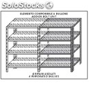 Stainless steel bolt-on shelf - modular unit - height cm 180 - 4 perforated