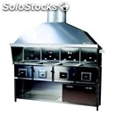Stainless steel charcoal grill - n° 4 separate stoves - steel base - dimensions