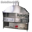 Stainless steel charcoal grill - n° 4 stoves with 2 joined stoves - steel base -