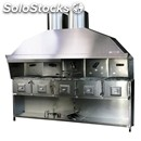 Stainless steel charcoal grill - n° 5 separate stoves - steel base - dimensions
