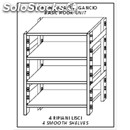Stainless steel hook-on shelf - base unit - height cm 180 - 4 smooth shelves