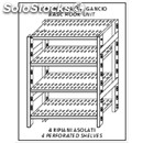 Stainless steel hook-on shelf - base unit - height cm 200 - 4 perforated shelves