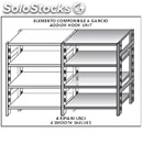 Stainless steel hook-on shelf - modular unit - height cm 180 - 4 smooth shelves