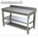 Stainless steel work table - square legs 4x4cm - bottom shelf - worktop