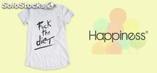 stock HAPPINESS t-shirt uomo donna lotto 500pz - prezzo 6€