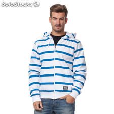 Sudadera con cremallera basic blanca rayas azules - the indian face -